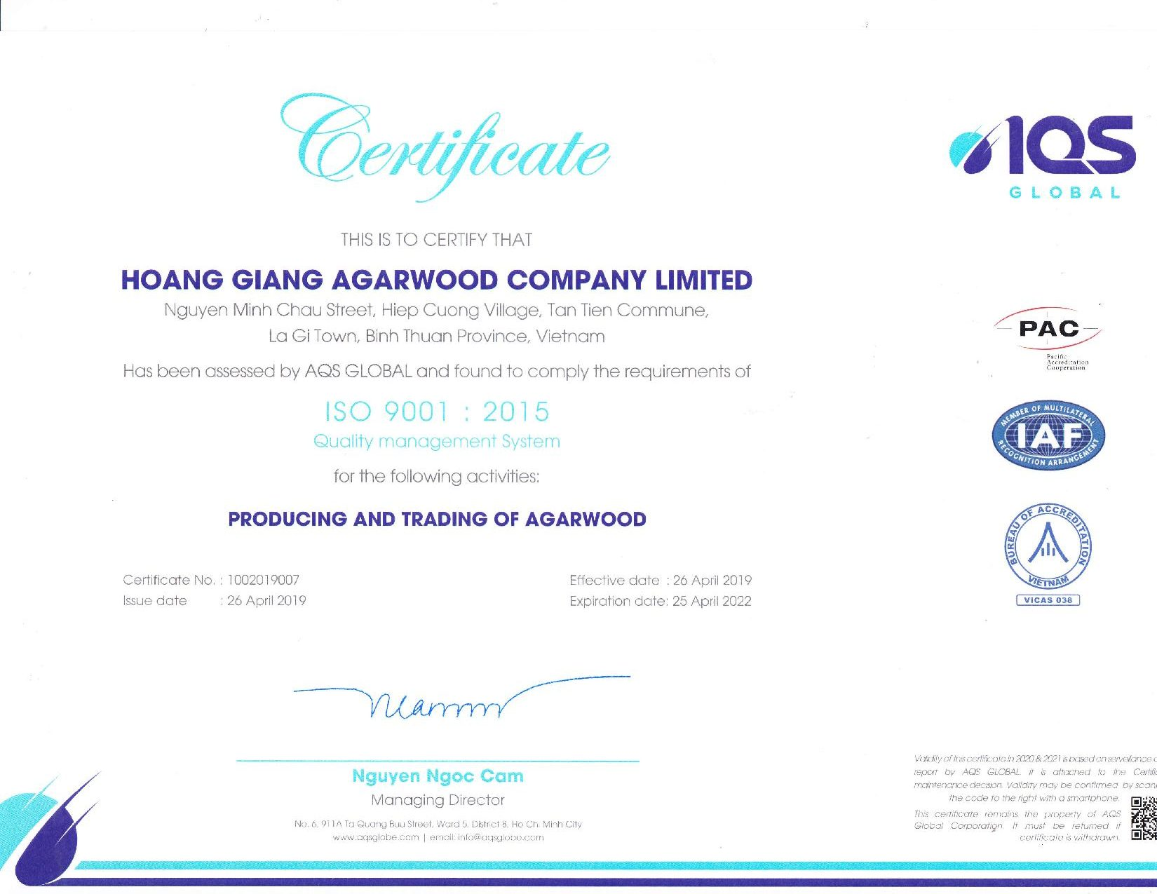 ISO 9001: 2015 Quality Management Certificate Of Hoang